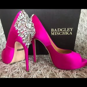 Badgley Mishka Kiara peep toe pumps - fuscia